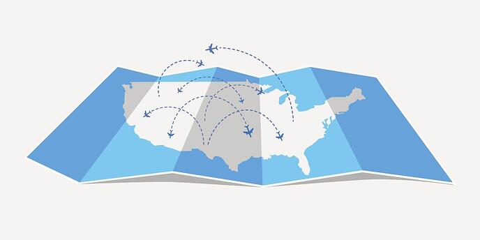 US Map with airplanes GettyImages-673598302