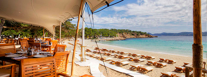 Ibiza, Spain, beach, water, restaurant