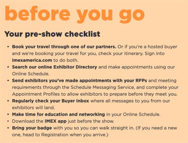 Imex america, tradeshow, event, experience